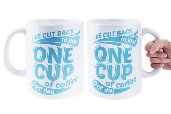 Writing on both sides of cup
