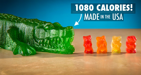 The 1080 Calorie Gummy Gator is made in the USA.