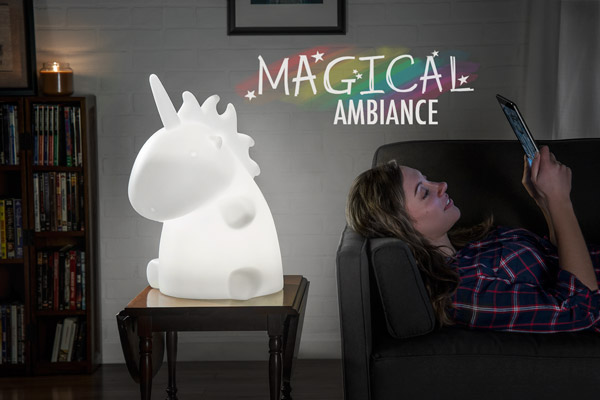 A Giant Unicorn Lamp in a living room setting