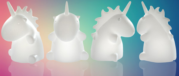Three different views of the Giant Unicorn Lamp