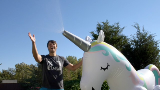 Giant Unicorn Sprinkler: An inflatable fountain that stands over six feet  tall!