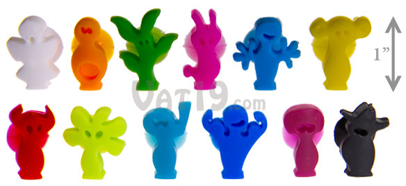 Suction cup wine charms and glass markers include 12 colorful characters.