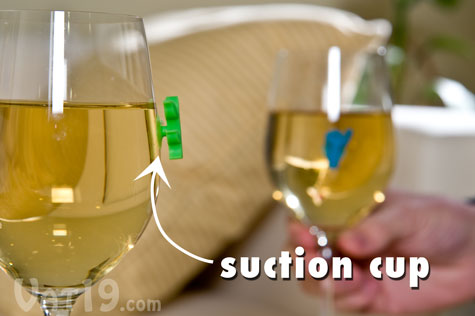 Wine and Glass Markers suction cup to nearly any drinkware.