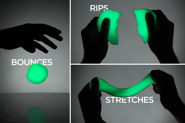 Glow in the Dark Krypton Putty can be bounced, stretched, and torn.