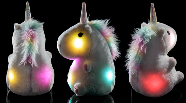3/4 view of Glowing Unicorn Pillow