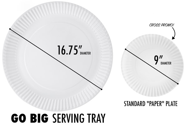 A look at just how massive the Go Big Serving Tray is.