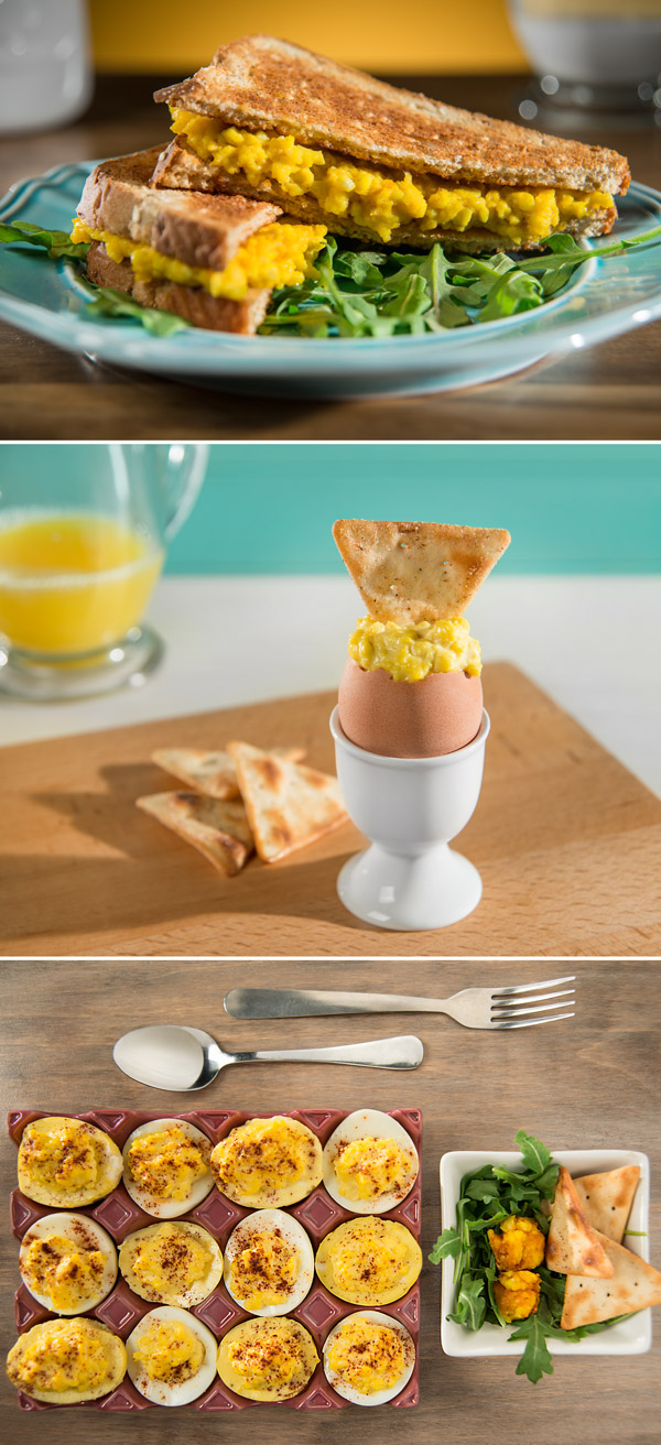 Deviled golden eggs, a golden egg sandwich and, soft boiled golden eggs ready to eat