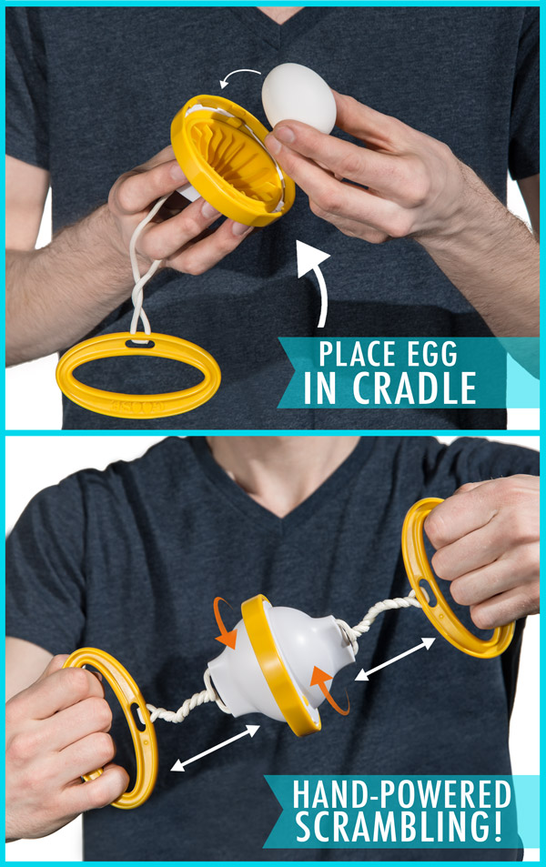 An egg rests in the cradle while hands spin the goose