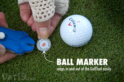 The Swiss Army GolfTool features a detachable ball marker.