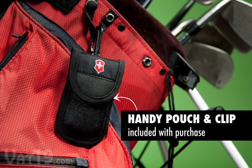 Protect your Swiss Army Golf Tool with the nylon carrying case with bag clip.