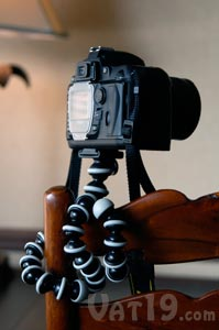 Gorillapod Bendable Tripod on the back of a chair