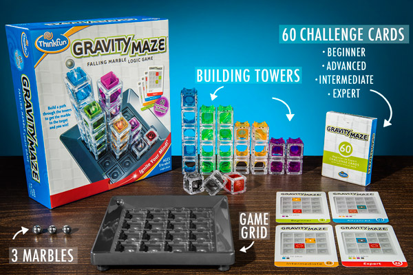 Gravity maze comes with 3 marbles, a game grid, ten building towers, and sixty challenge cards in four difficulty levels.