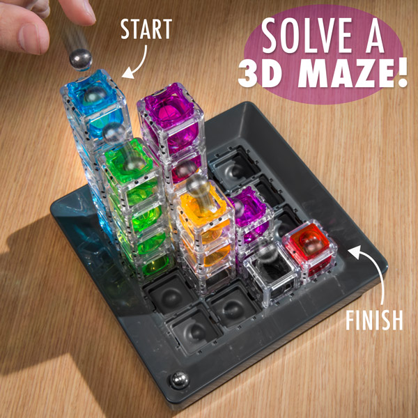 Solve a 3D Maze with a marble and plastic towers