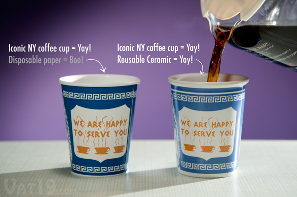 We Are Happy To Serve You Greek Coffee Cup made from ceramic.