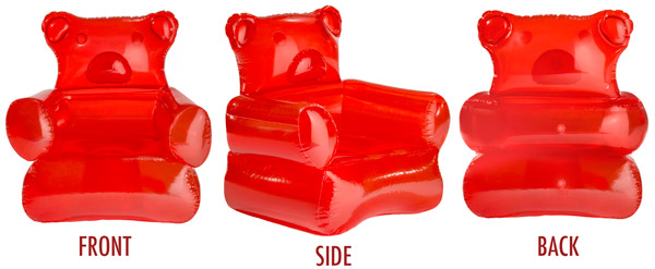 "The Gummy Bear Chair inflates to approximately 38"" x 28"" x 40""."