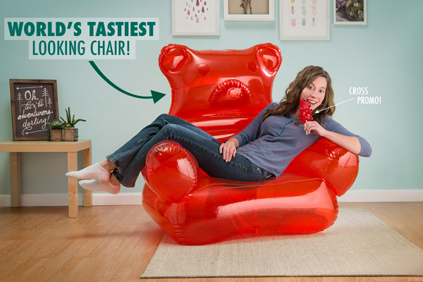 The Gummy Bear Chair easily holds an average-sized adult.