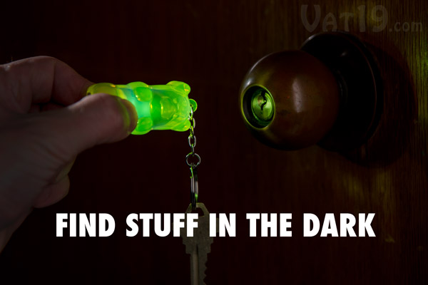 The Light Up Gummy Bear Keychain helps you find the lock in the dark.