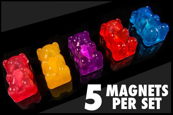 Each set of Gummy Bear Magnets includes five fridge magnets.