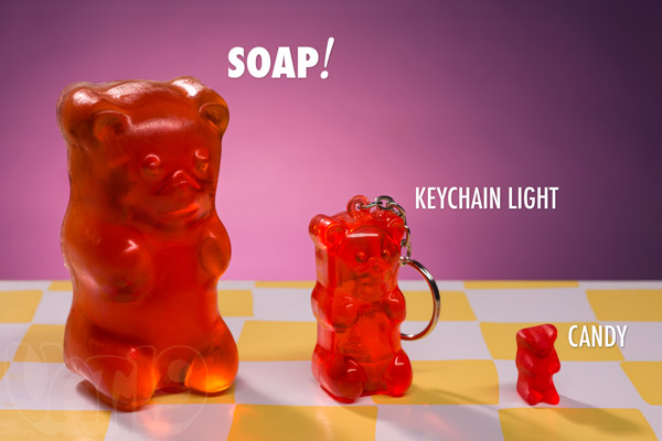 Gummy Bear Soaps are nearly 4 inches tall.