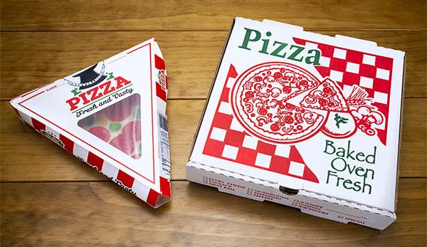 The gummy pizza comes in a pizza delivery box.