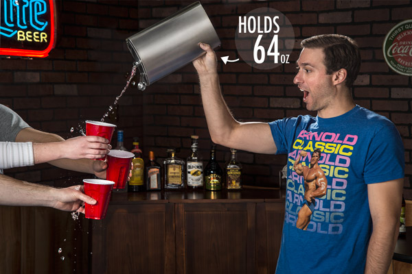 Man pouring multiple drinks with his 64-ounce Flask.