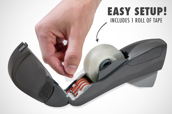 The dispenser is easy to set up with the included roll of tape.