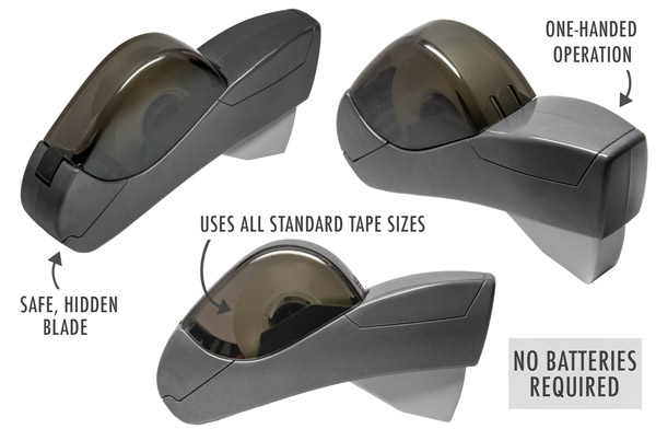 The battery-free Handheld Tape Dispenser's safe, hidden blade cuts all standard tape sizes.