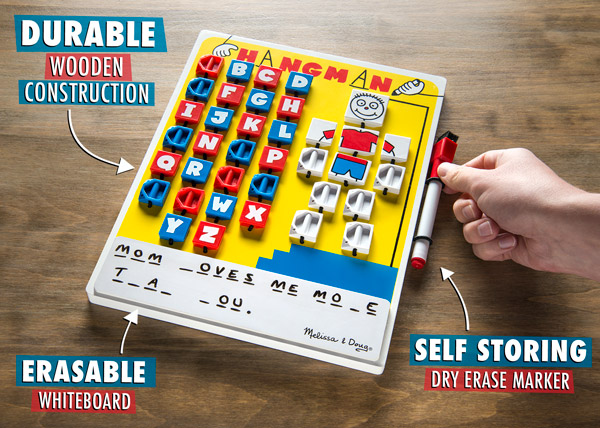 The Melissa and Doug Flip-to-Win Travel Hangman Game features durable wooden construction, an erasable whiteboard, and a self-storing dry-erase marker.