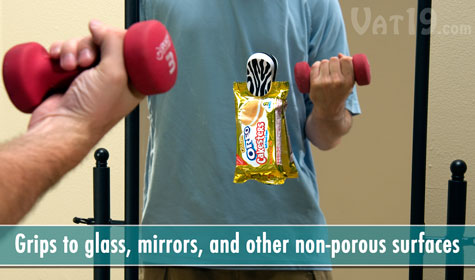 The Happeez Clips grip to glass, mirrors, and other non-porous surfaces.