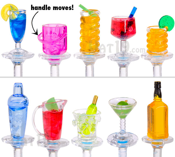 Each set includes 10 acrylic swizzle sticks.