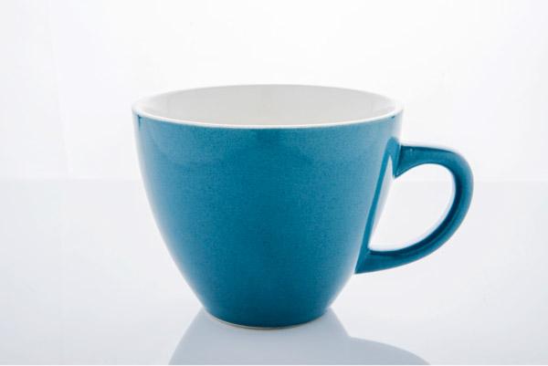 Three different views of the mug