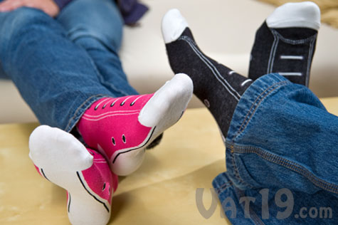 Pink or Fuschia Converse Hightop Sneaker Socks.