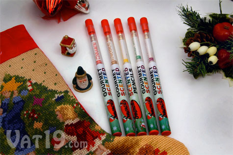 Holiday Smencils come packaged in individual tubes. Each set has five Christmas Smencils.