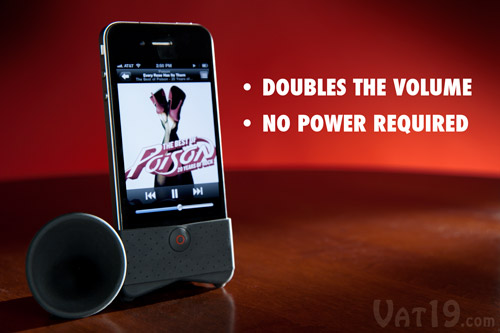The iPhone Horn Stand amplifies your speakers by a factor of 2.4