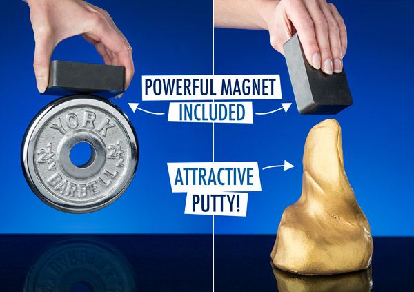 Attractive putty with powerful magnet included!