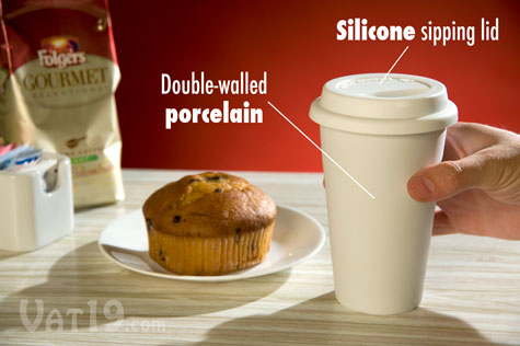Double-walled porcelain mug with silicone sipping lid