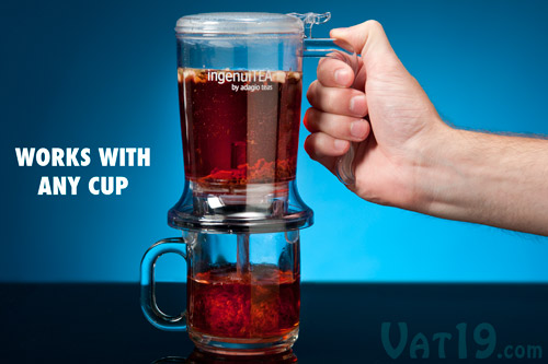Place the IngenuiTea Teapot on the top of any cup or glass to filter.