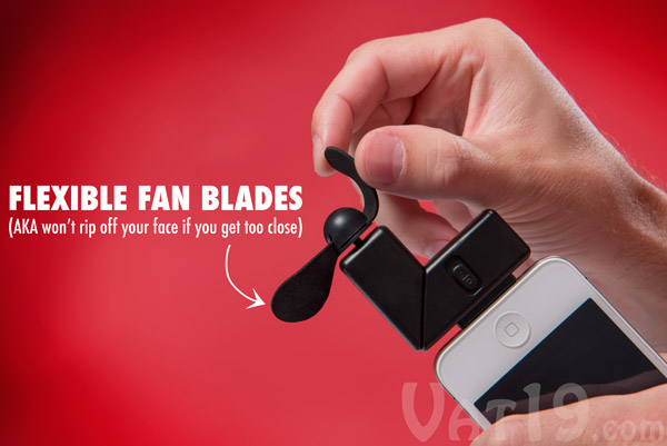 iPhone Fan Attachment features soft, flexible foam fan blades.