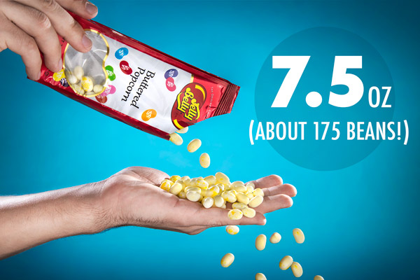 Man pouring Buttered Popcorn Jelly Belly Jelly Beans into his hand.