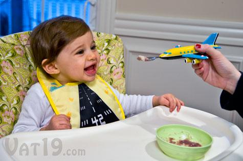 Jetbib Illuminated Baby Bib Features Airplane Spoon And