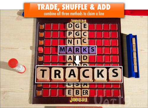 Add letters, exchange letters, and shuffle letters to claim a line.