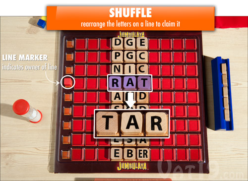 Shuffle the letters to create a new word and claim the line.