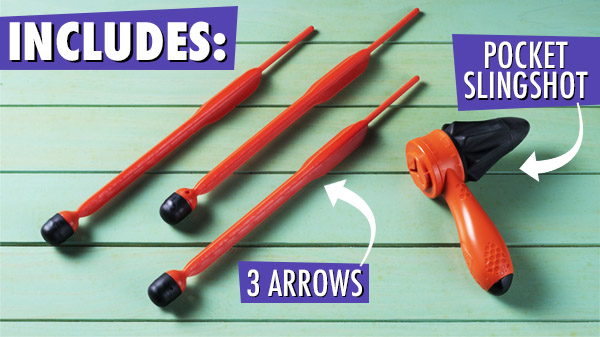 The set includes a slingshot with pouch and 3 whistling arrows