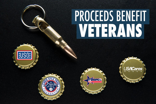Help support wounded veterans and their families by purchasing a repurposed bullet keychain.