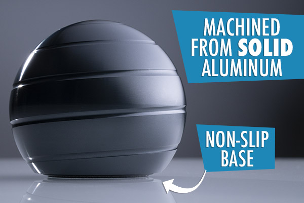 The high-quality Kinetic Spinning ball is machined from solid aluminum with a non-slip base and includes a carrying case.