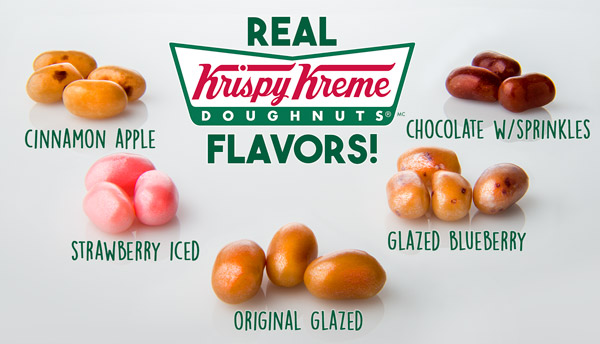 Real Krispy Kreme™ flavors: Cinnamon apple, Strawberry iced, Original glazed, Glazed blueberry, Chocolate w/sprinkles!