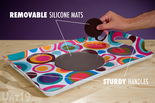 The Removable Silicone Mats Prevent Your Plate And Drink From Spilling.
