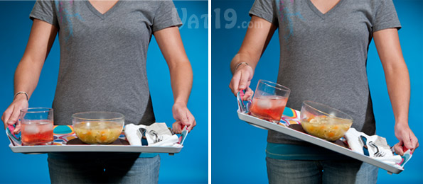 Elegant Lapper Dinner Trays Can Be Tilted Dramatically Without Slipping Or Spilling.
