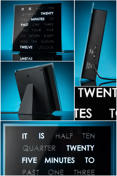 Multiple views of the LED Word Clock.