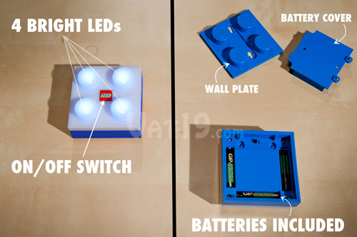 The LEGO® LED Brick Light features 4 LEDs, removable wall plate, and 3 AAA batteries.